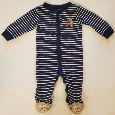 Carter's Blue Striped Monkey Footed Long Sleeve Sleeper Pajamas Boys 6 Months