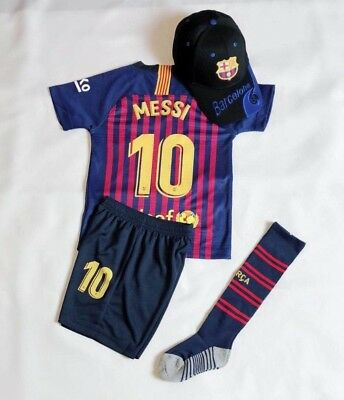 quality design aea24 05a2a NEW 20,19 KIDS Soccer Jersey Barcelona Home #10 Messi Top+Short Kit + Cap  Socks