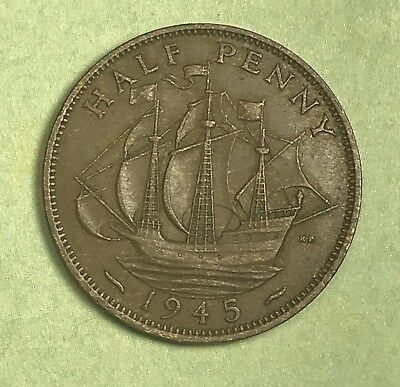 1945 Great Britain Half Penny. Collector Coin For Your Collection or Set.