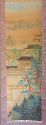 Shinto Shrine Torii Gate Japan Hanging Scroll ~ Hand Painted Signed #HS116