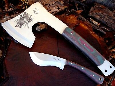 Lot of 2 Custom D2 Steel Dire Wolf Axe and Knife Camp Set Full Tang Z-3