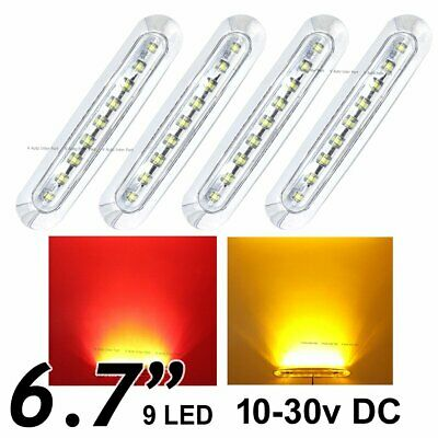 """2X Clear Red 2X Amber 6.7"""" 9 SMD LED Side Trailer Marker Tail Light Clearance"""