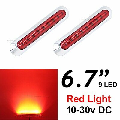 "2X 12V 24V 6.7"" Red 9 SMD LED Side Marker Tail Light Clearance Car Truck Trailer"