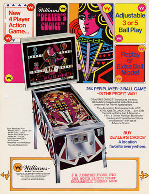 Dealer's Choice Pinball Machine Flyer Original Mint