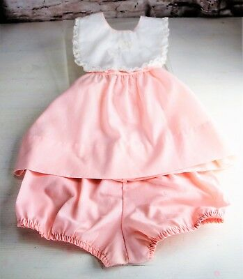 Vintage Baby 2-Piece Outfit Infant Size 3 Months Sleeveless Pink White Tie Back