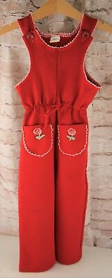 Vintage Carter's One Piece Red Polyester Pant Outfit Girls Size 3T Jumpsuit
