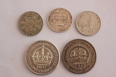 1937 crowns X 2 and 1927 1951 1954 Florins