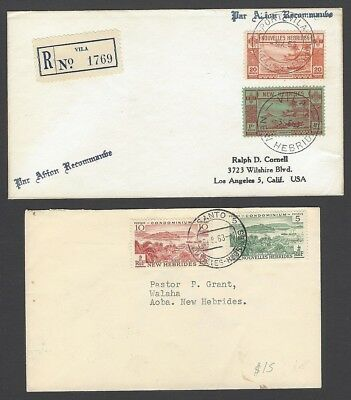 New Hebrides collection of mixed frankings English & French (7)