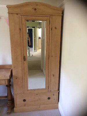 Antique French Pine Victorian Single Wardrobe With Mirror And Drawer