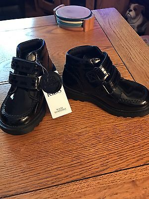 Marks & Spencer Kids. Black Patent Leather Boot  Size 7 Bnwt