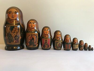 10Pcs/SET VINTAGE RUSSIAN WOODEN SIGNED NESTING DOLLS BABUSHKA MATRYOSHKA #3