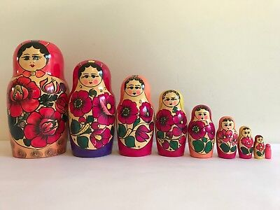 9Pcs/SET ORIGINAL RUSSIAN WOODEN NESTING DOLLS RED BABUSHKA MATRYOSHKA #2