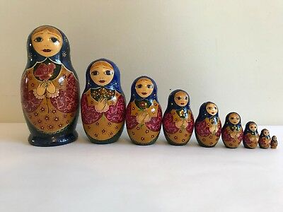 9Pcs/SET ORIGINAL RUSSIAN WOODEN NESTING DOLLS SIGNED BABUSHKA MATRYOSHKA #1