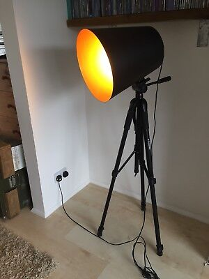 Large Photographic Industrial Floor Lamp On Polaroid Tripod Base
