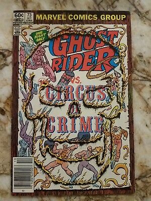 Ghost Rider # 73 Fn+ Circus Of Crime 1 Key 1982 Newsstand Comic.