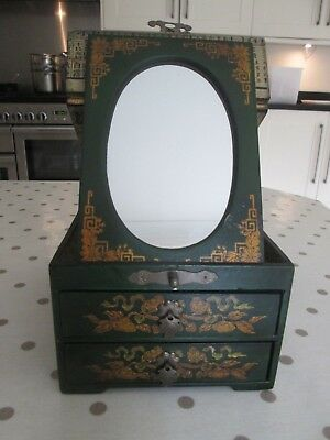 Vintage old lacquered Oriental jewellery box,original folding flat mirror, lined