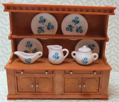 Vintage Sylvanian Families Pine Welsh Dresser with China