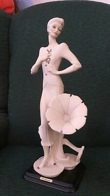 "G Armani Etrusca Arte Lady with Morning Glory Phonograph Figurine 15 1/2"" Tall"