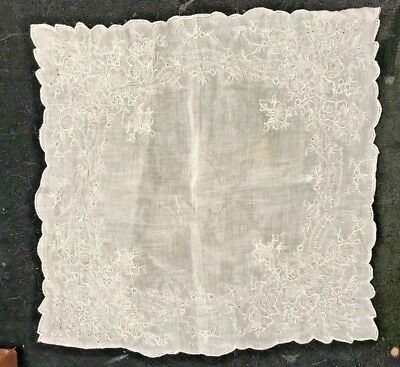 wedding hanky handkerchief lace hand embroidered