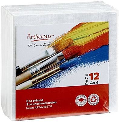 Artlicious Canvas Panels 12 Pack - 4 inch x 4 inch Super Value Pack - Artist
