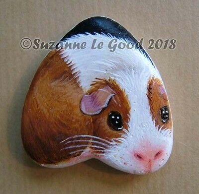 Guinea Pig painting art on heart stone rock pebble Dutch by Suzanne Le Good