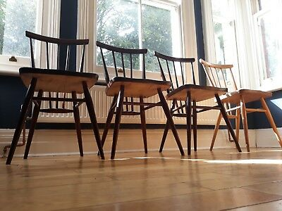 Set of 4 Vintage 1960's Ercol 391 Windsor All Purpose Dining Chairs
