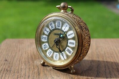 Blessing West German Hand Wind Mechanical Brass Alarm Clock, Good Working Order