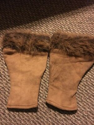 Set Lot 2 Brown Leather Boot Cover Ups Toppers Faux Fur