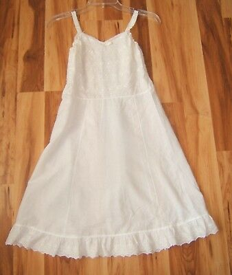 Vtg Girls Youth Her Majesty White Cotton Full Slip Sz 14