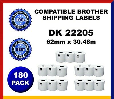 180 Refill Rolls DK22205 Brother Compatible Shipping Labels 62mm x 30.48m Label