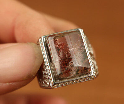 rare Valuable chinese old Natural Crystal Inlay Silver Adjustable size Ring