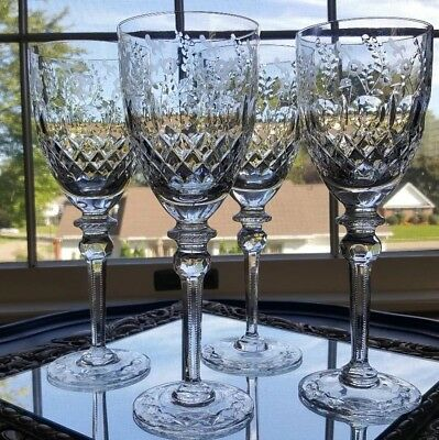 (4) ROGASKA GALLIA ETCHED LEAD CRYSTAL WATER GOBLETS MINT Cond. SIGNED GORGEOUS