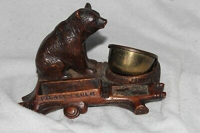 Antique Black Forest Bear Smokers Desk Stand Smokers Companion c.1900 Glass Eyes