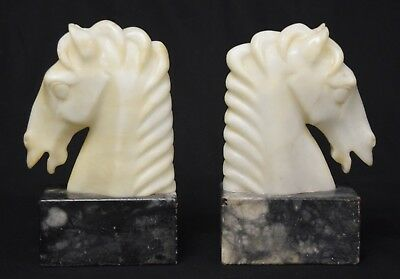 Pair of Art Deco Alabaster and Marble Equestrian-Theme Bookends