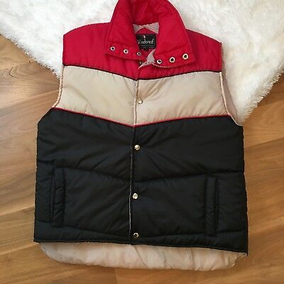 Windcrest Men's Vest Vintage 70's 80's Red Blue Nylon Puffer Quilted Large