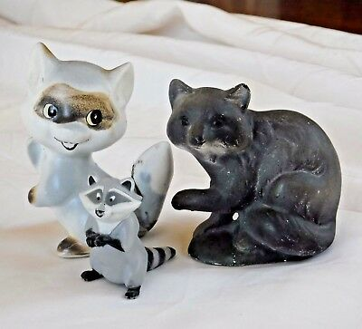 "3 Raccoon Figurines Vintage Lot 2-3"" tall Figures Ceramic"