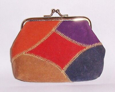 Vtg NEW LANCOME CHANGE COIN PURSE KISS LOCK FAUX SUEDE BEIGE PATCHWORK CLUTCH
