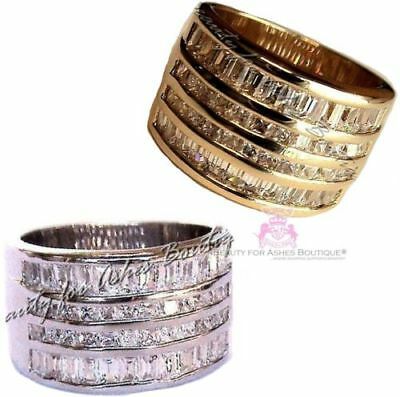 Womens Ladies Wide Band Gods Miracles Ring - Silver White/Yelllow Gold Plating