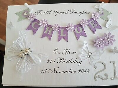 Handmade Personalised Birthday Card For Daughter  18/21/30th/40th/50th Butterfly