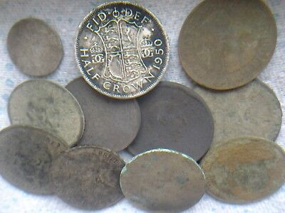 GROUP of 10 AS DUG OLD BRITISH  COINS METAL DETECTING FINDS