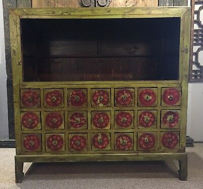 Antique Chinese Apothecary Herbal Cabinet Circa 1940s