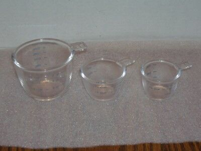 Glass Stacked Nesting Measuring Cups, Set of 3, Embossed Lip, Measuring Labels