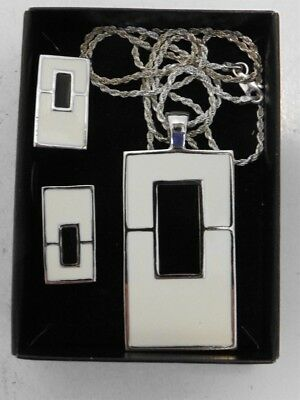 VTG Art Deco Sterling Silver Black & White Enameled Necklace & Earrings, Clip