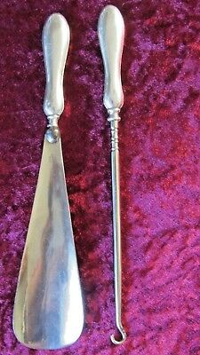 Antique Hallmarked Silver Shoe Horn & Button Hook