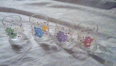 """Vintage Lot Of 4 CARE BEARS Juice Glasses Tumblers 3"""" Tall Good Luck Cheer Share"""