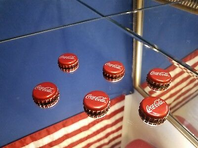 6 (six) Coca-Cola Bottle Cap Fridge Magnets