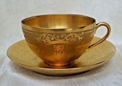 Vintage Gold Plated Cup and Saucer by Osborne