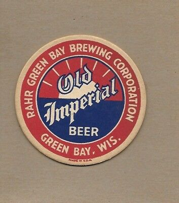 Vintage Rahr's OLD IMPERIAL BEER Coaster~Rahr Brewing Co Green Bay Wisconsin a