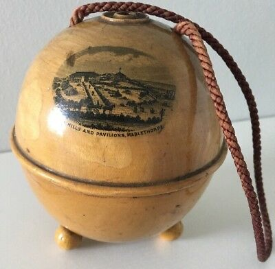Mauchline Ware String Holder Sea Hills And Pavillion Mablethorpe With String
