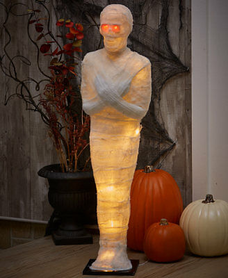 Halloween 3' ft Lighted MUMMY w/Red Eyes Cloth Wrapped Battery Operated BN